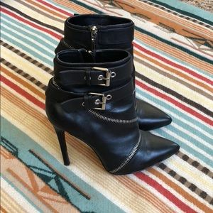 Zara Black Ankle Boots with Zipper Details